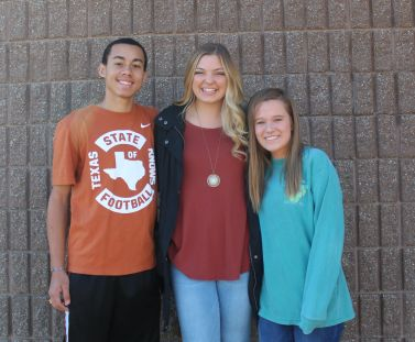 Seniors Lorance Washington, Gracelyn Basinger, and Lexo Bagrosky pose together as the new senior class officers.