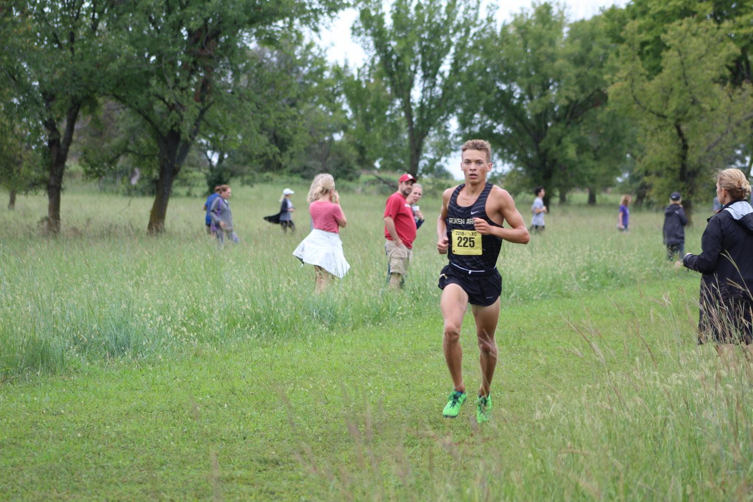 Blake McConkay runs in a meet at Oneta Ridge.