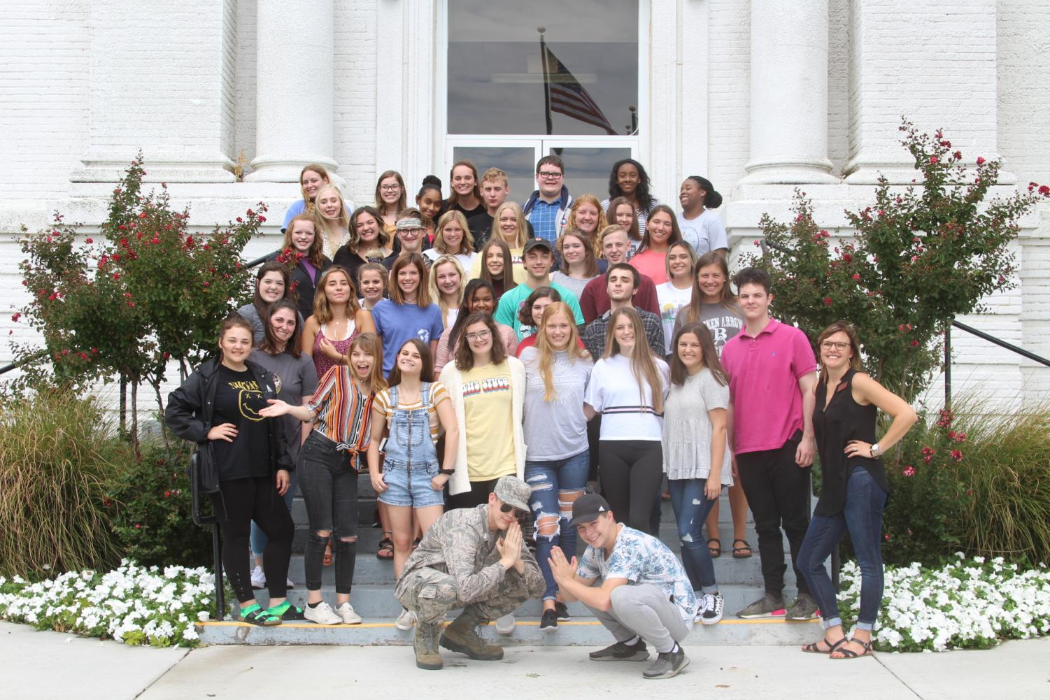 The yearbook staff poses for a group photo at RSU.