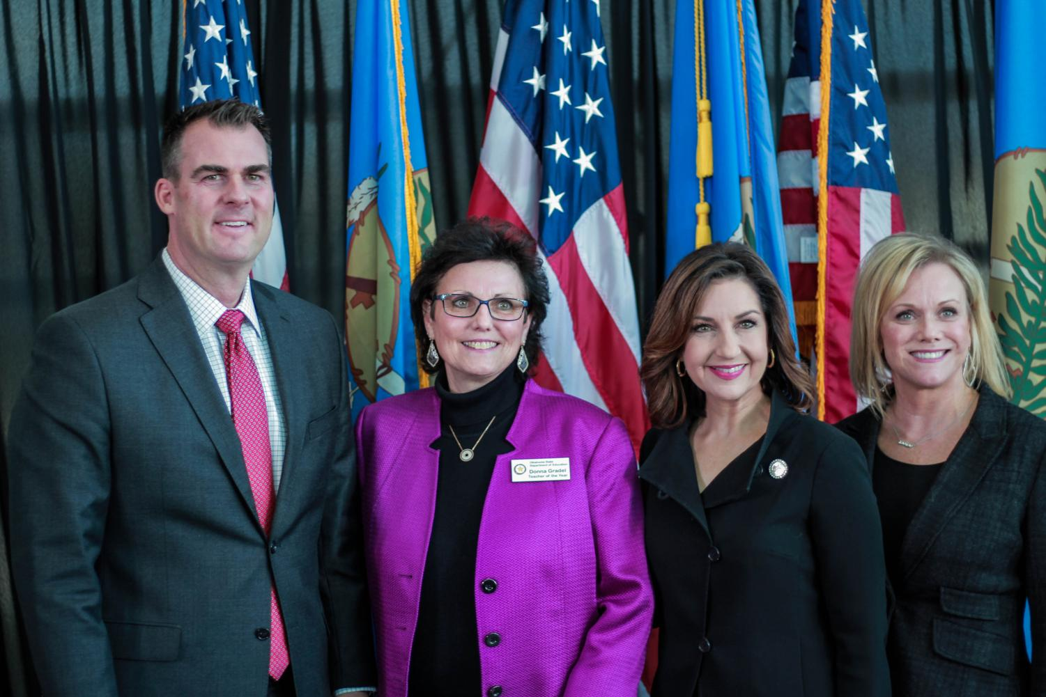 Governor Stitt poses with BA Teacher of the Year Donna Gradel, Oklahoma's State Superintendent of Public Instruction Joy Hofmeister, and Superintendent of Broken Arrow Schools Janet Dunlop.
