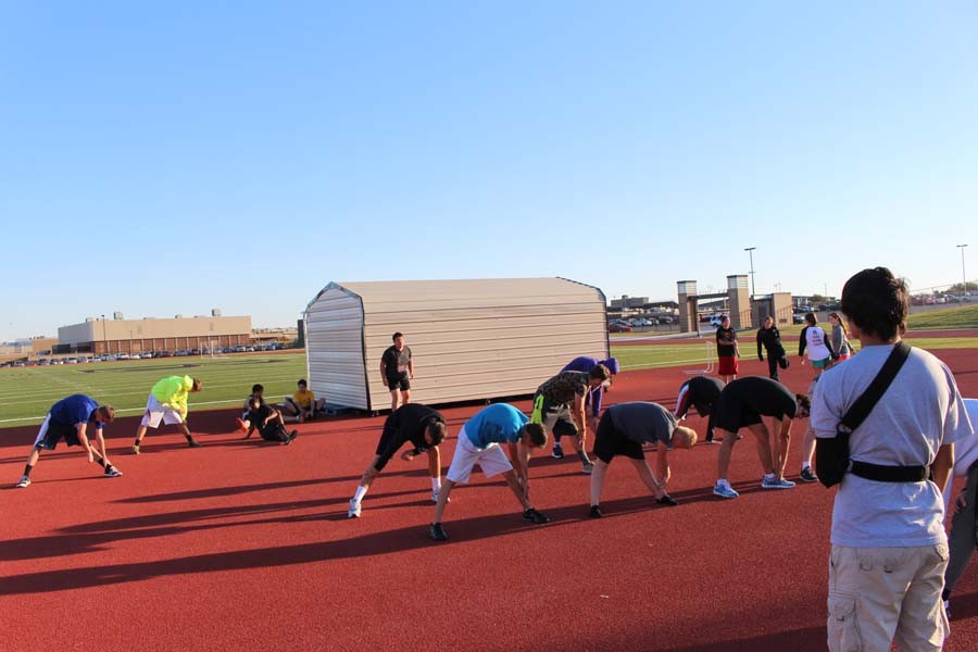 JROTC students work out on the track.  JROTC classes are offered to students for the first time this year.