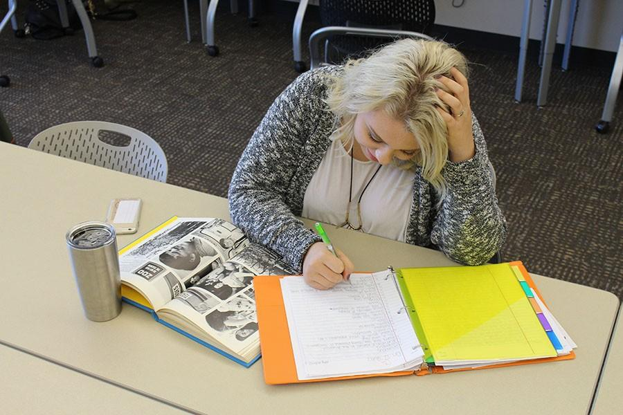 Senior Elisabeth Beemer is among the many upperclassmen who are finding themselves struggling to focus.