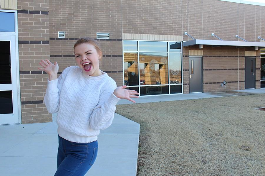 Senior Maddie Riggin poses after winning Most Likely to Be On Broadway in the senior class.
