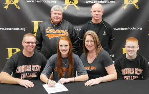 Senior Alyssa Stephens  signed early with Connors State to play softball.