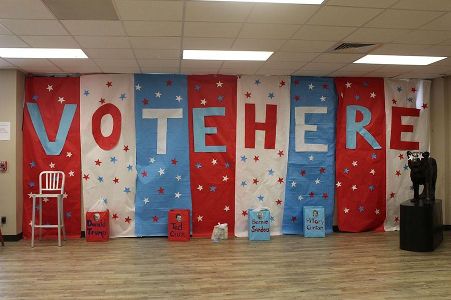 Students from leadership classes decorated the wall in the Student Union to encourage participation in voting with the food drive.