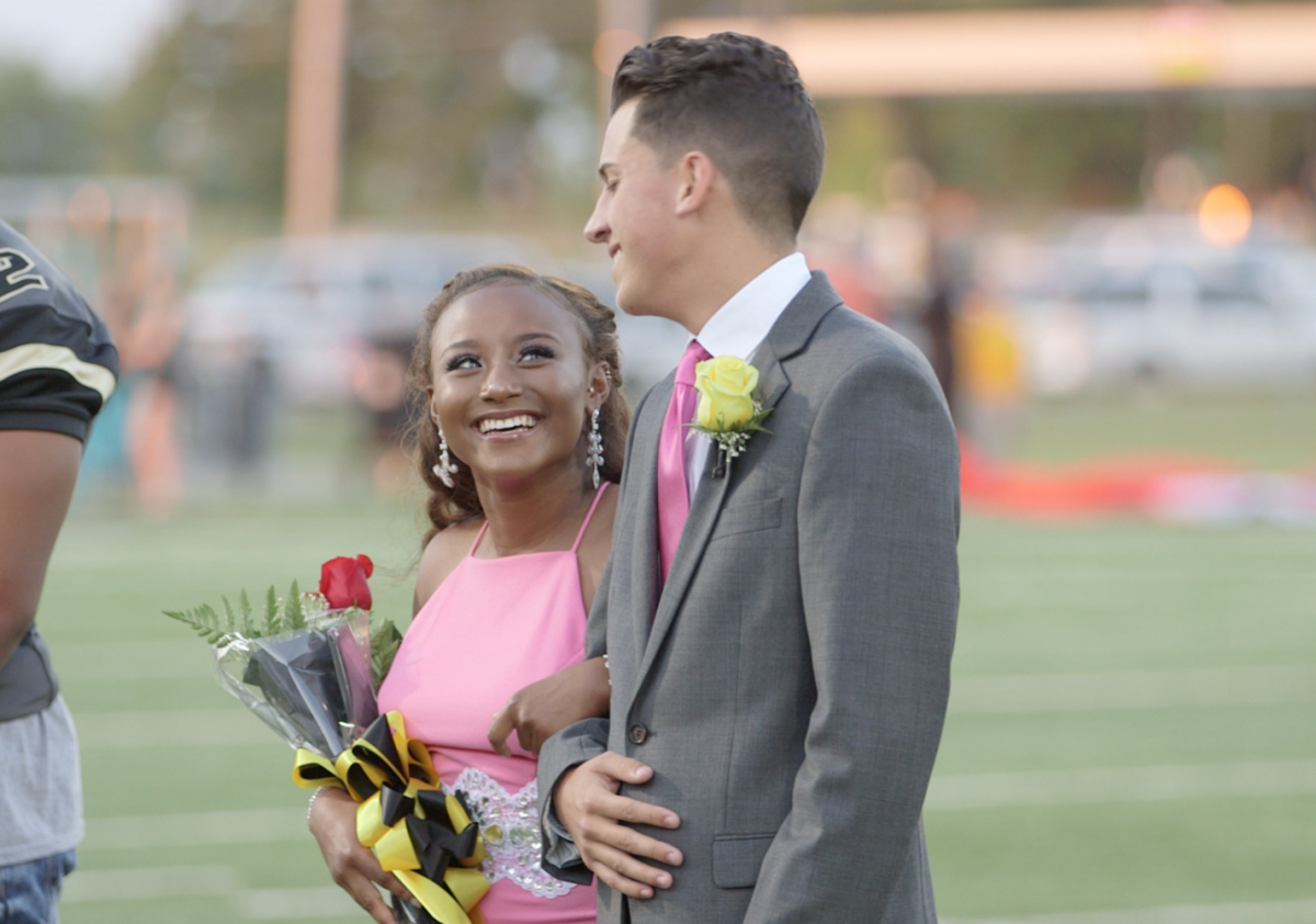 2016 Homecoming King Marshal Hatfield and Homecoming Queen Iman Knox smile after the announcement.