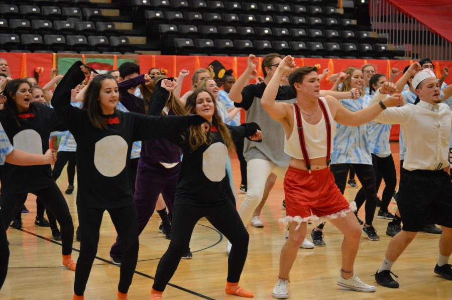 Students participate in Gym Night, an annual dance battle.
