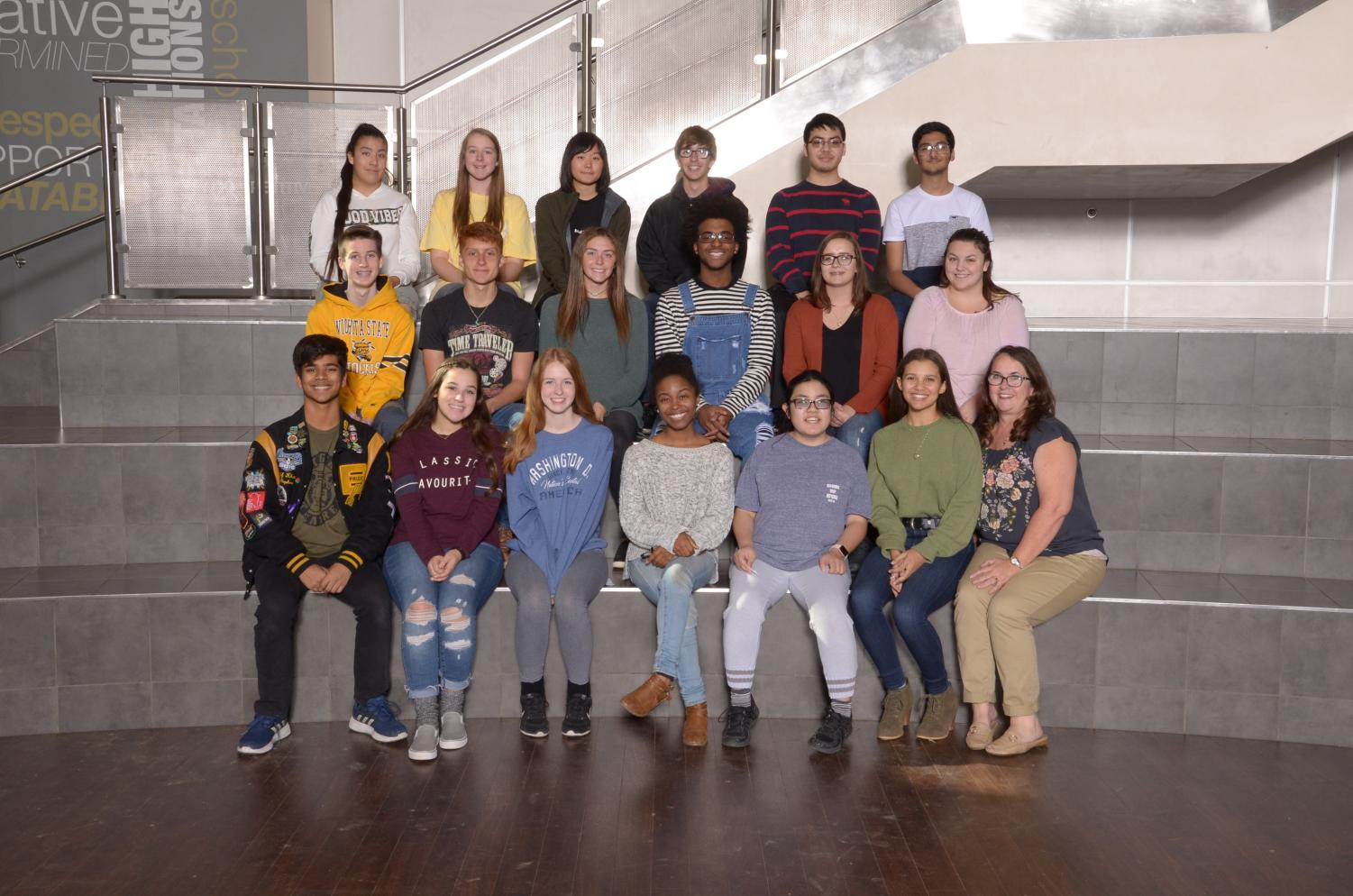 The Expanding Horizon club poses in the Broken Arrow High School lobby during group photo day.