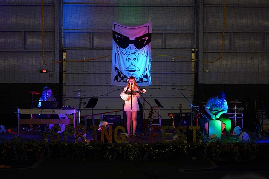 Junior Haven Reynolds takes the stage at the annual Springfest event, an event made to showcase the art and musical talents on campus.