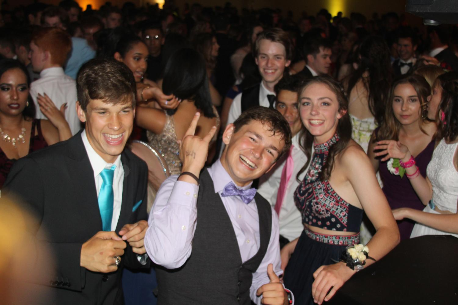 Senior Jacob Carden enjoys the dance floor with his classmates at Prom 2017.